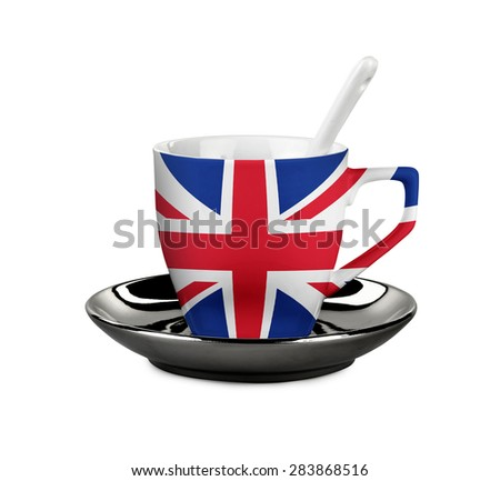 Perfect UK Flagged coffee or tea cup with spoon isolated on white - stock photo