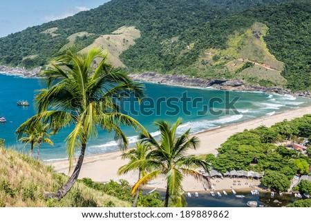 Perfect view of blue bay at Ilhabela island Rio do Janeiro, Sao Paulo.Brazil. South America. - stock photo