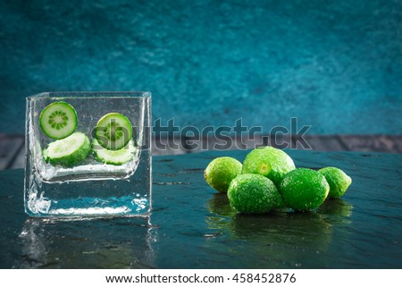 Perfect view of the cutting of a citrus fruit, small lime - stock photo