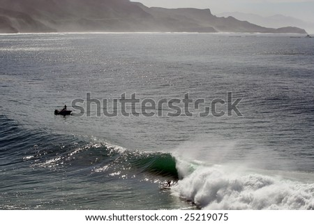 perfect waves in Salsipuedes, Baja California, Mexico. - stock photo