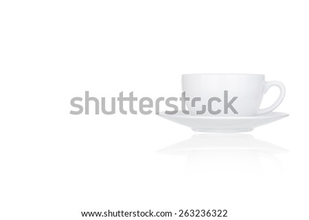 Perfect white coffee cup isolated on white background