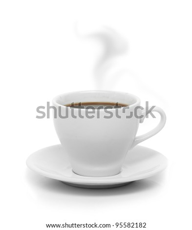 Perfect white coffee cup with steam isolated on white