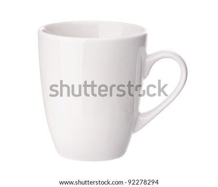 Perfect white cup isolated on white background - stock photo