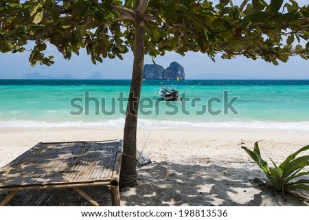 Perfect white sand beach in Krabi, Thailand - stock photo