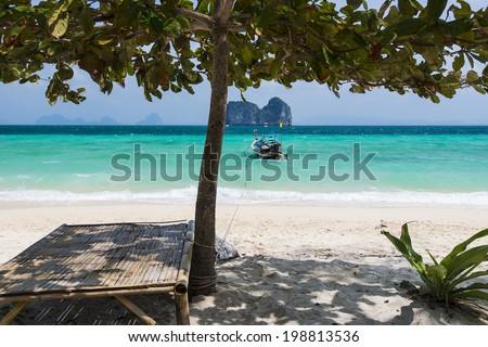 Perfect white sand beach in Krabi, Thailand - stock photo