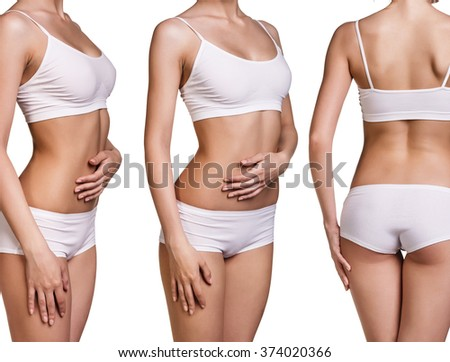 Perfect women body in white underwear  - stock photo