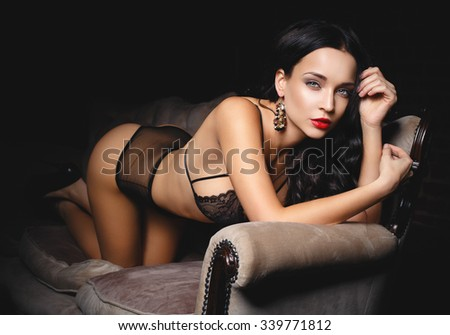 Perfect young beauty girl in a sexy lingerie - stock photo