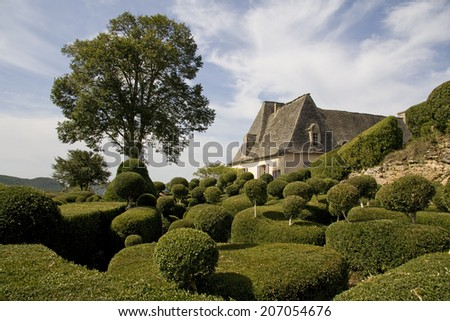 Perfectly cut small plants and hedges with a large tree in front of a French chateau - stock photo