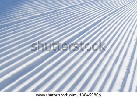 Perfectly groomed corduroy snow for skiing, Stowe, Vermont, USA - stock photo