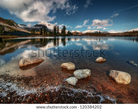 Perfectly still mountain lake reflection with rocks and ice - stock photo