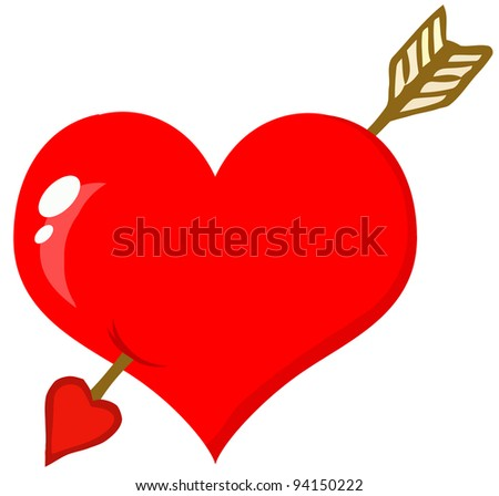 Perforated Heart With Arrow .Raster illustration .Vector version is also available - stock photo