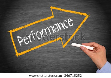 Performance - arrow with text - stock photo