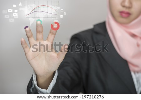 Performance concept. Business woman pointing her fingers on virtual web interface icons. - stock photo