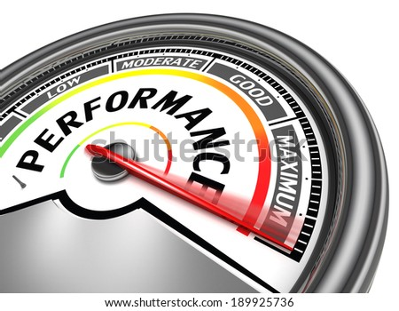 performance conceptual meter indicate maximum, isolated on white background - stock photo