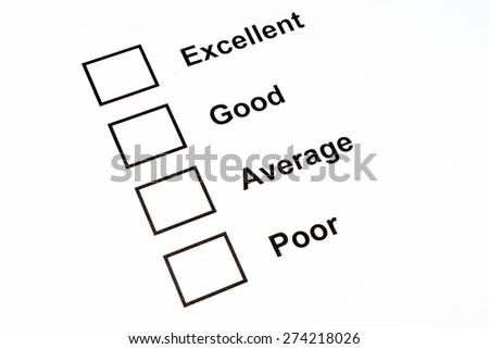 Performance evaluation checkbox - stock photo