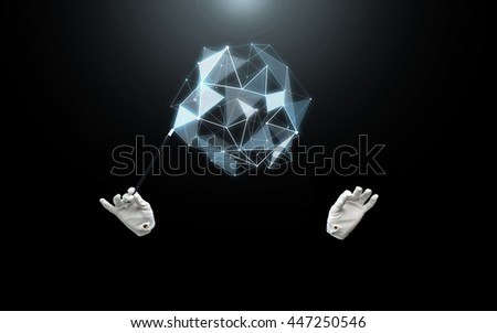 performance, illusion, technology and virtual reality concept - magician hands in gloves with magic wand showing trick with low poly virtual shape over black background - stock photo