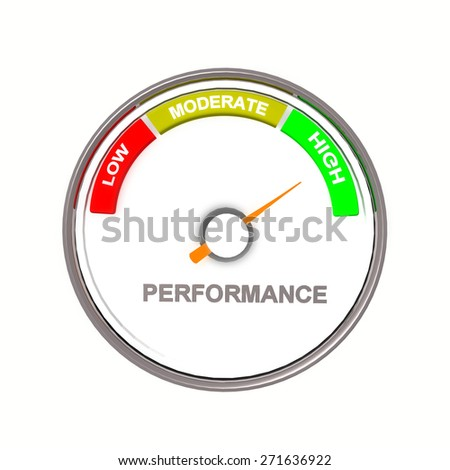 performance low moderate high - red yellow green and a pointer - stock photo