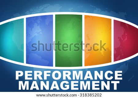 Performance Management text illustration concept on blue background with colorful world map