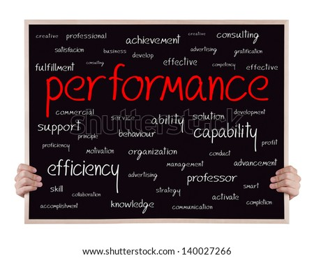 performancre and other related words handwritten on blackboard with hands - stock photo