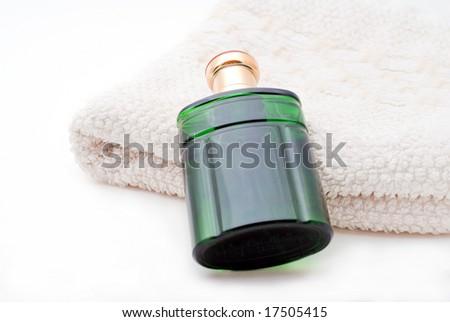 Perfume and Towel - stock photo
