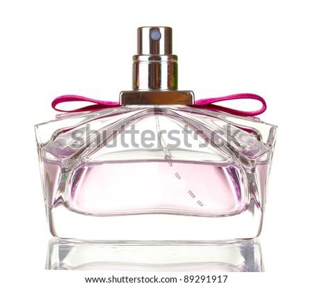 Perfume bottle isolated on white - stock photo