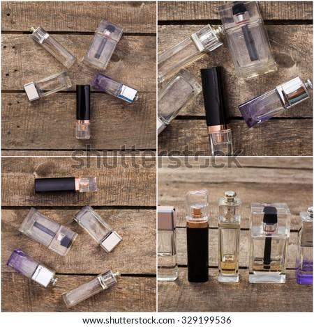 Perfume bottles collage - stock photo