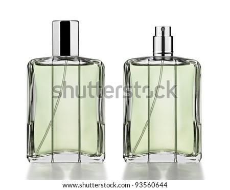 Perfume bottles isolated on white - stock photo