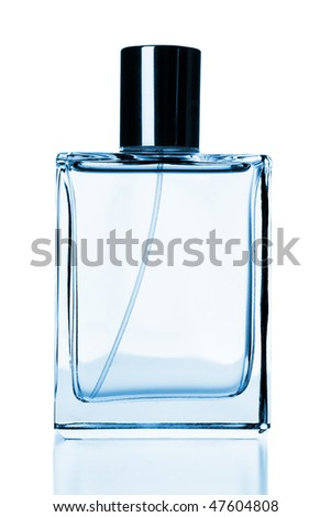 Perfume flask with cologne isolated over white background