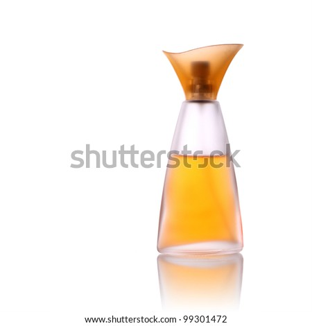 perfume glass bottle isolated on white - stock photo