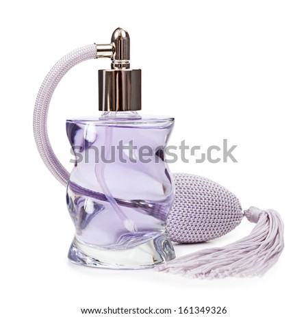 Perfume in the bottle pulverizer isolated on white background - stock photo