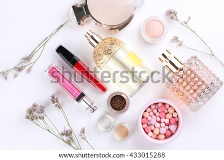 Perfume, Scented, Perfume Sprayer with decorative cosmetics, flower on white background