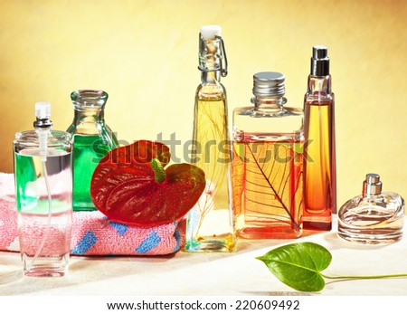 perfumes in the bathroom - stock photo