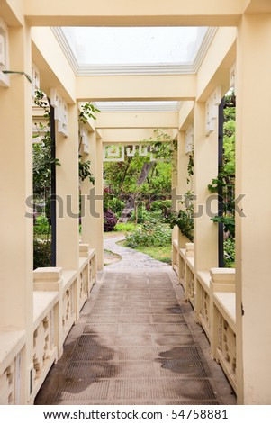 Pergola and plant in a garden - stock photo