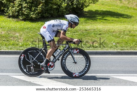 PERIGEUX,FRANCE-JUL 26: The French cyclist Florian Vachon (Bretagne-Seche Team) pedaling during the stage 20 ( time trial Bergerac - Perigueux) of Le Tour de France 2014.  - stock photo
