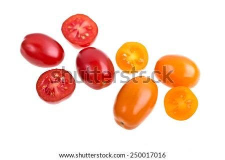 Perino tomatoes duets on a white background - stock photo