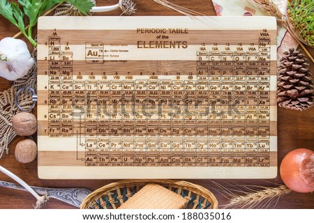 Periodic Table Engraved Bamboo Wood Cutting Board, Science Gift, Chemistry Teacher, Student, Kitchen, Art Graduation or Wedding Gift - stock photo