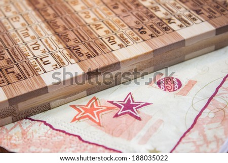 Periodic table engraved bamboo wood cutting stock photo 188035016 shutterstock - Periodic table chopping board ...