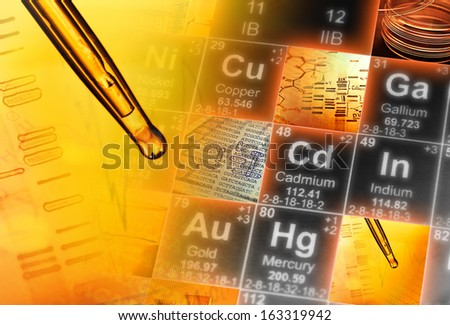 Periodic table of elements and laboratory tools. Science  - stock photo