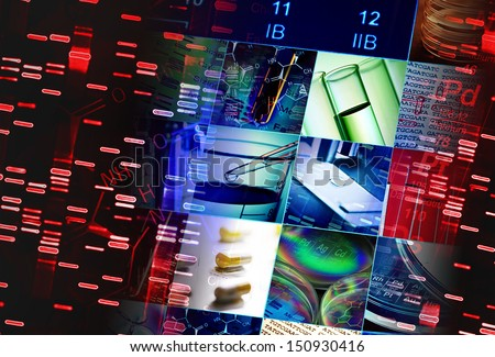 Periodic table of elements and laboratory tools. Science concept