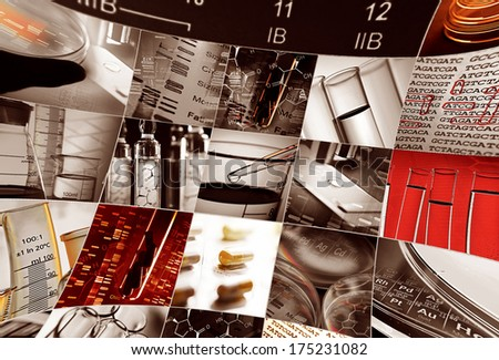 Periodic table of elements and laboratory tools. Science concept - stock photo
