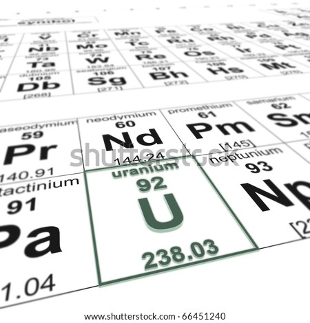 periodic table of elements, focused on uranium - stock photo