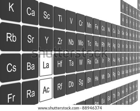 Periodic table on white wall - stock photo