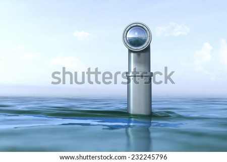 Periscope above the water - stock photo
