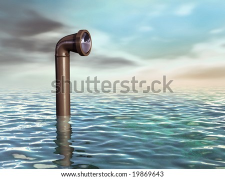 Periscope emerging from a water surface. Digital illustration. - stock photo