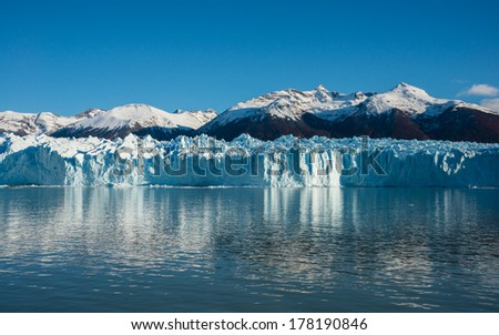 Perito Moreno Glacier in the Los Glaciares National Park in southwest Santa Cruz province, Argentina. - stock photo