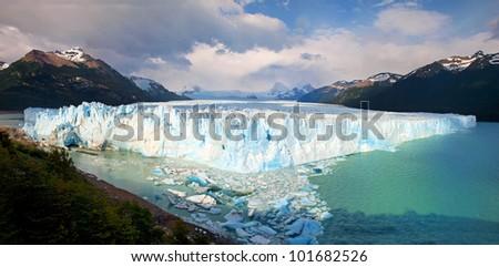 Perito Moreno Glacier panorama in Los Glaciares National Park, Patagonia, Argentina - stock photo