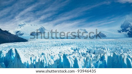Perito Moreno glacier, patagonia, Argentina. Copy space. - stock photo