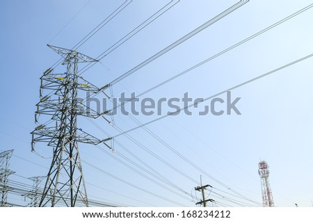 perk views high voltage poles The early morning light - stock photo