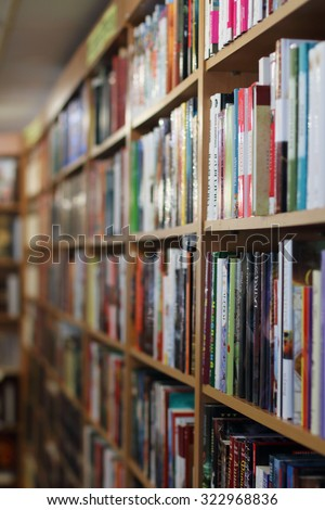 PERM, RUSSIA - AUG 18, 2014: Book in shop. According to Russian Book Chamber in 2013, Russian publishing houses were produced 120512 titles of books and brochures - stock photo