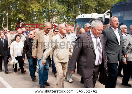 PERM, RUSSIA, JULY 04.2015:People go at a meeting of veterans of aviation college of city of Perm